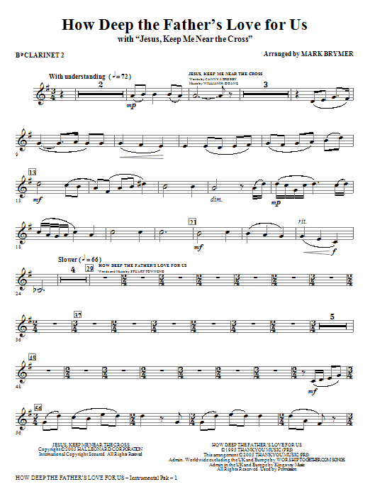 How Deep The Father's Love For Us (with Jesus Keep Me Near The Cross) - Bb Clarinet 2 Sheet Music