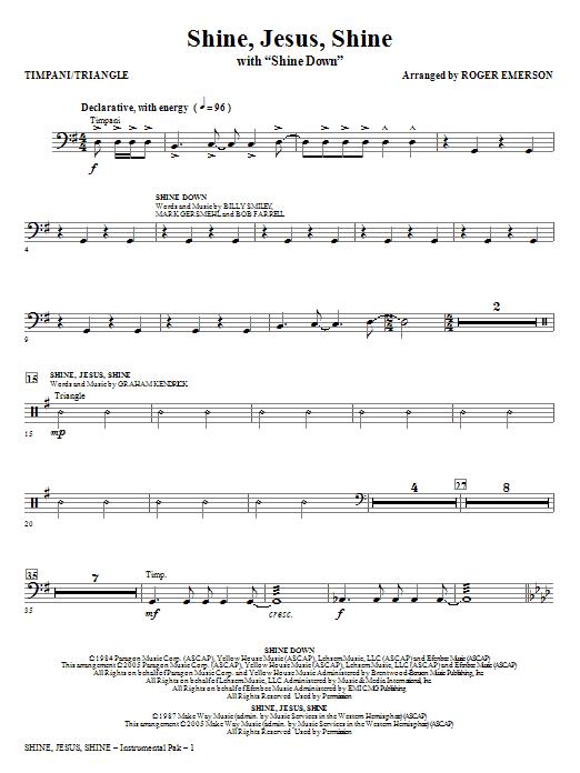 Shine Jesus Shine (with Shine Down) - Timpani/Triangle | Sheet Music ...
