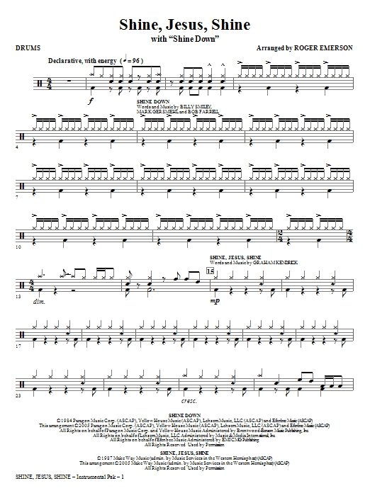 Shine Jesus Shine (with Shine Down) - Drums Sheet Music