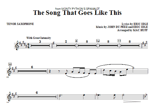 The Song That Goes like This - Tenor Sax Sheet Music