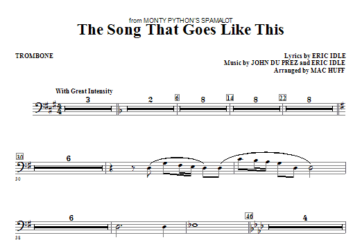 The Song That Goes like This - Trombone Sheet Music