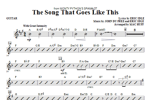 The Song That Goes like This - Guitar Sheet Music
