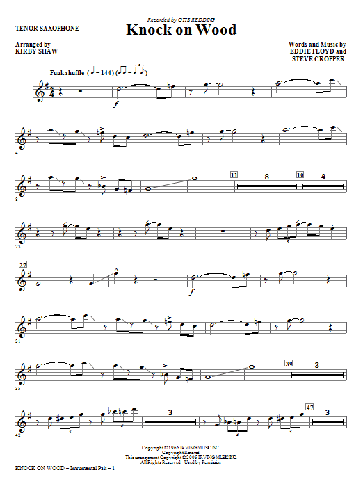 Knock On Wood - Tenor Sax Sheet Music
