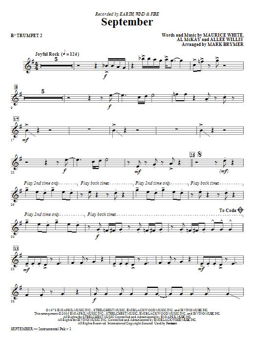 September (arr. Mark Brymer) - Bb Trumpet 2 (Choir Instrumental Pak)