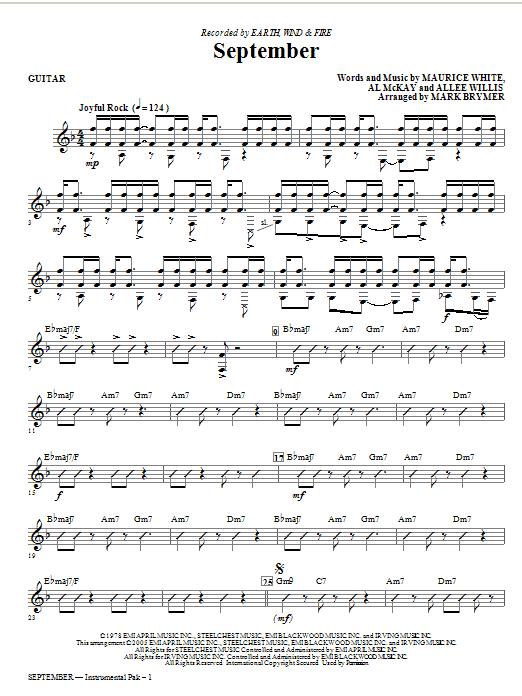 September (arr. Mark Brymer) - Guitar (Choir Instrumental Pak)