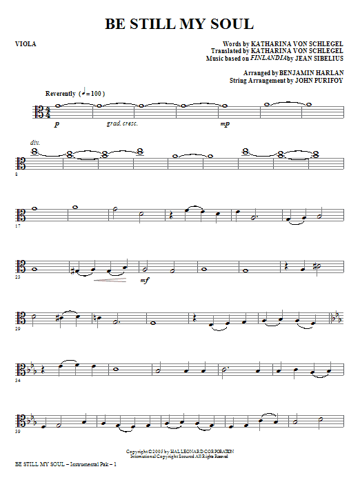 Be Still My Soul - Viola Sheet Music