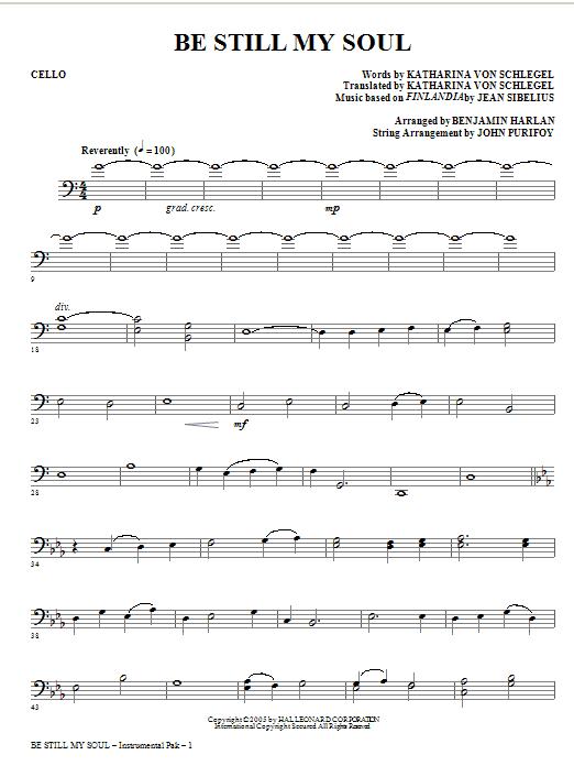 Be Still My Soul - Cello | Sheet Music Direct