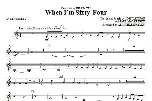 When I'm Sixty-Four - Bb Clarinet 2 Sheet Music
