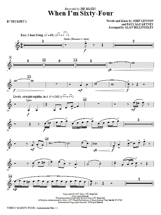 When I'm Sixty-Four - Bb Trumpet 1 Sheet Music