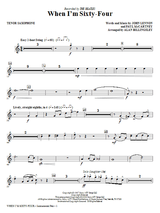 When I'm Sixty-Four - Tenor Sax Sheet Music