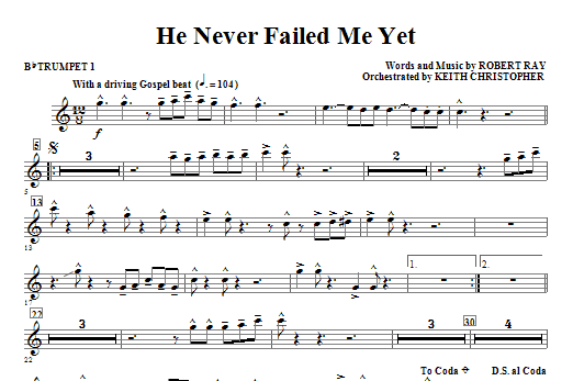 He Never Failed Me Yet - Bb Trumpet 1 Sheet Music