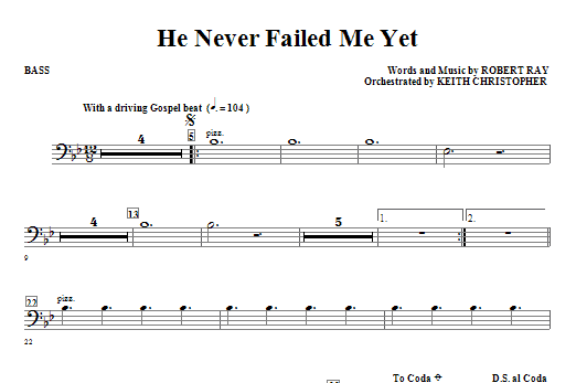 He Never Failed Me Yet - Bass Sheet Music