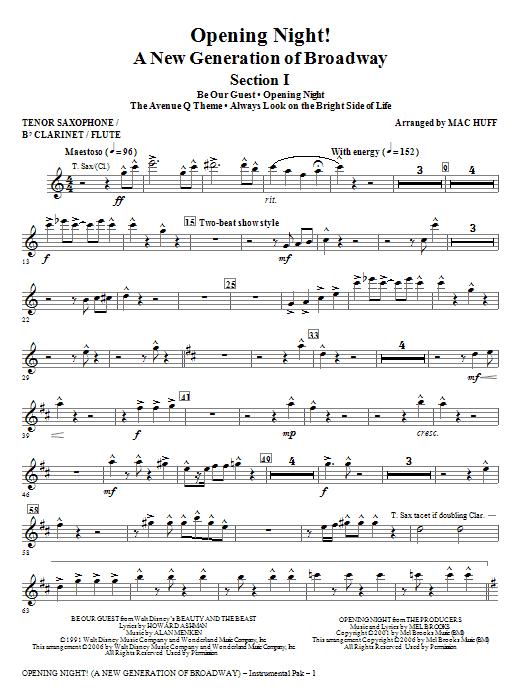 Opening Night - Tenor Sax,Clarinet,Flute Sheet Music