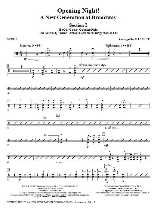 Opening Night - Drums Sheet Music