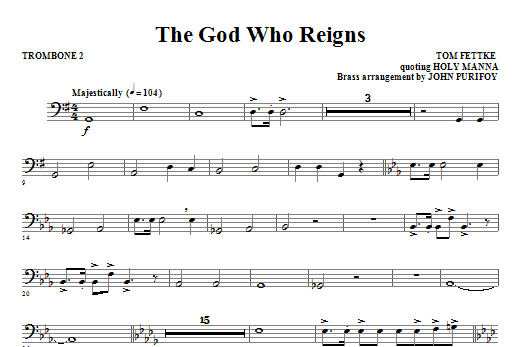 The God Who Reigns - Trombone 2 Sheet Music