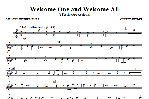 Welcome One And Welcome All - A Festive Processional - C Instrument II Sheet Music
