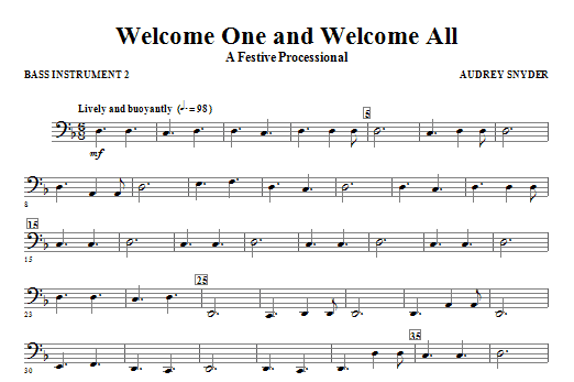 Welcome One And Welcome All - A Festive Processional - C Instrument IV Sheet Music
