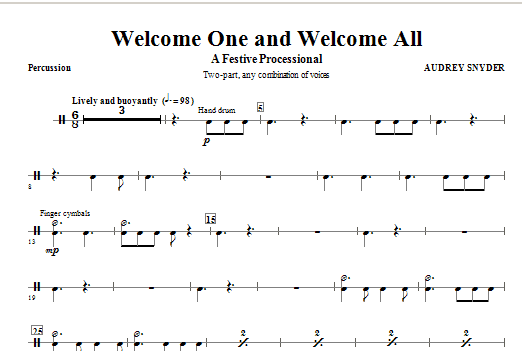 Welcome One And Welcome All - A Festive Processional - Percussion Sheet Music