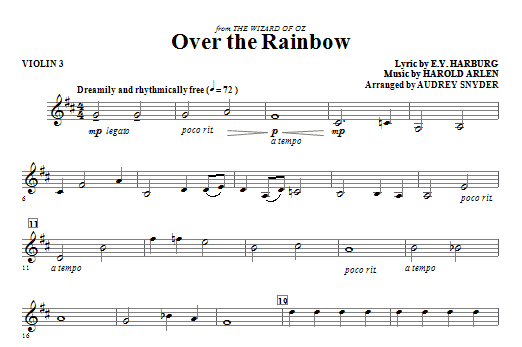 Over The Rainbow - Violin 3 : Sheet Music Direct