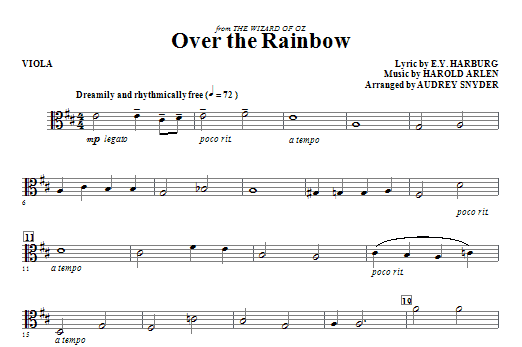 Over The Rainbow Viola Sheet Music Direct