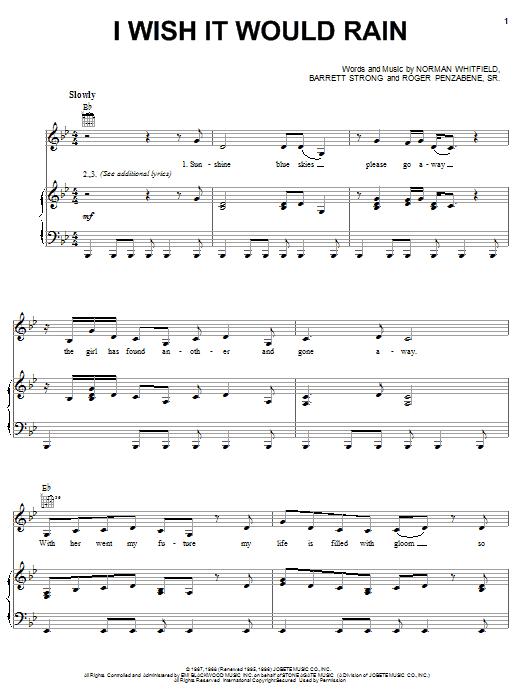 Partition piano I Wish It Would Rain de The Temptations - Piano Voix Guitare (Mélodie Main Droite)