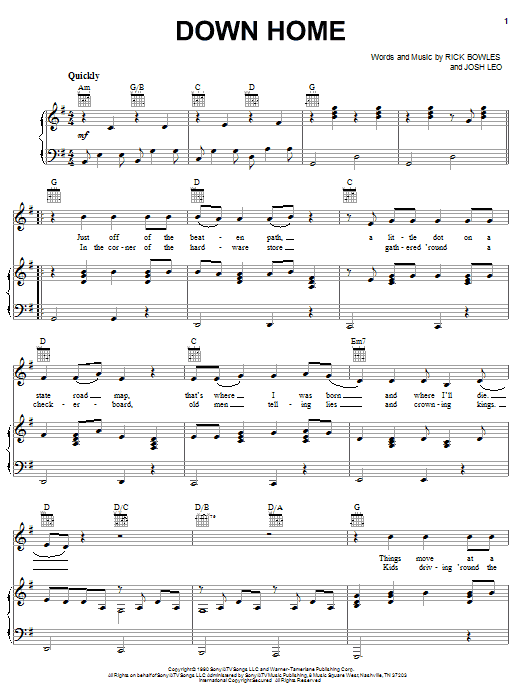 Down Home (Piano, Vocal & Guitar (Right-Hand Melody))
