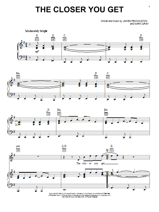 Partition piano The Closer You Get de Alabama - Piano Voix Guitare (Mélodie Main Droite)