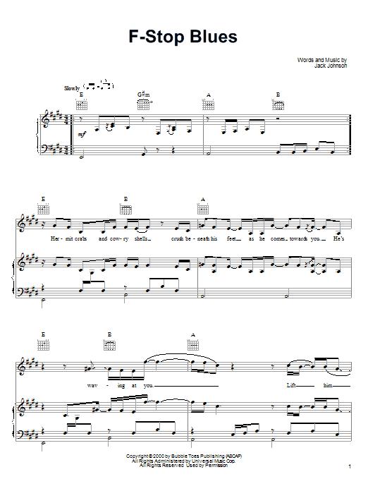 Partition piano F-Stop Blues de Jack Johnson - Piano Voix Guitare (Mélodie Main Droite)