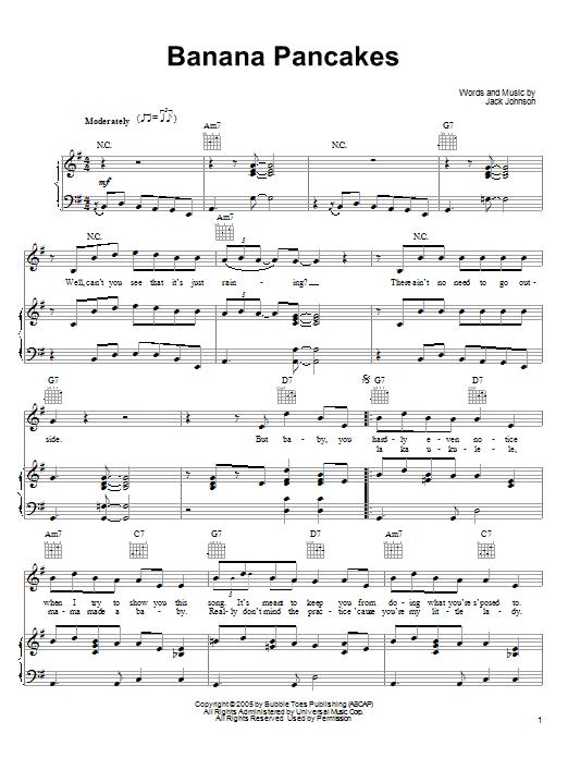 Partition piano Banana Pancakes de Jack Johnson - Piano Voix Guitare (Mélodie Main Droite)