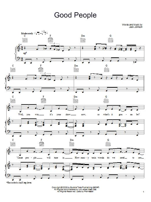 Partition piano Good People de Jack Johnson - Piano Voix Guitare (Mélodie Main Droite)
