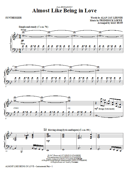 Almost Like Being In Love - Synthesizer Sheet Music