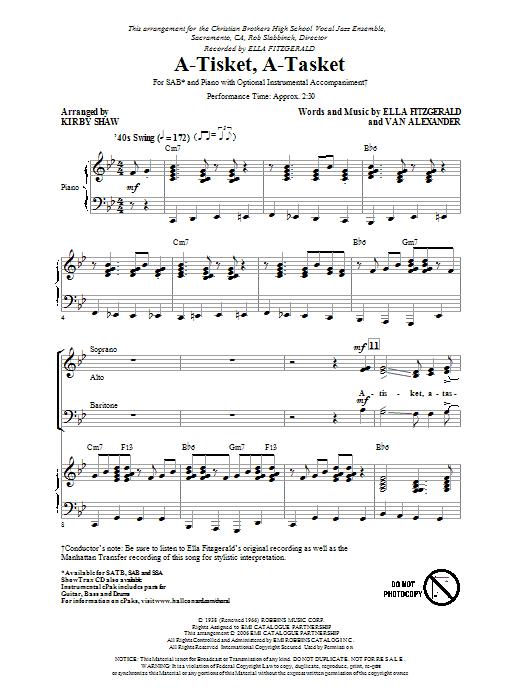 Partition chorale A-Tisket, A-Tasket de Manhattan Transfer - SAB
