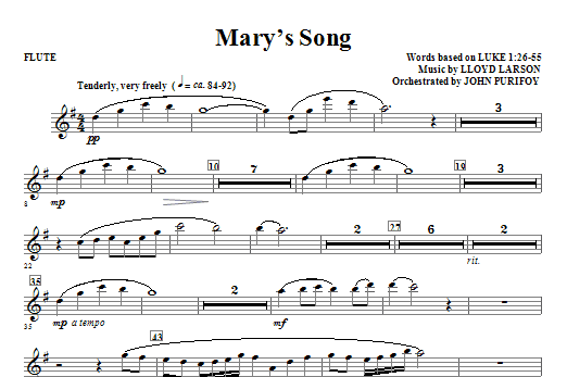 Mary's Song - Flute Sheet Music