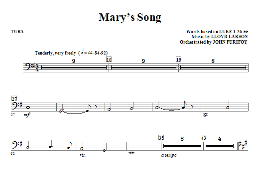 Mary's Song - Tuba Sheet Music