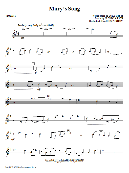Mary's Song - Violin 1 Sheet Music