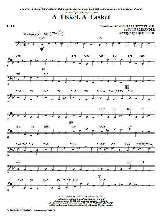 A-Tisket, A-Tasket - Bass Sheet Music