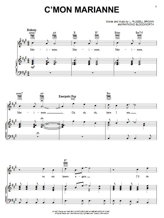Partition piano C'mon Marianne de Frankie Valli & The Four Seasons - Piano Voix Guitare (Mélodie Main Droite)