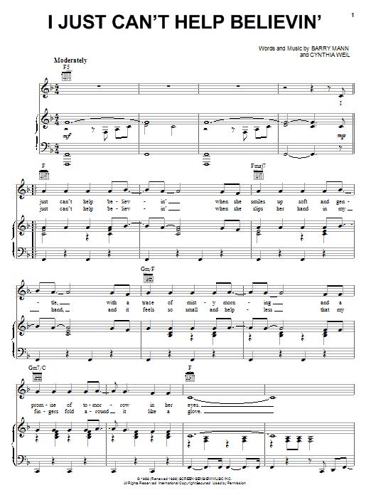 Partition piano I Just Can't Help Believin' de Elvis Presley - Piano Voix Guitare (Mélodie Main Droite)