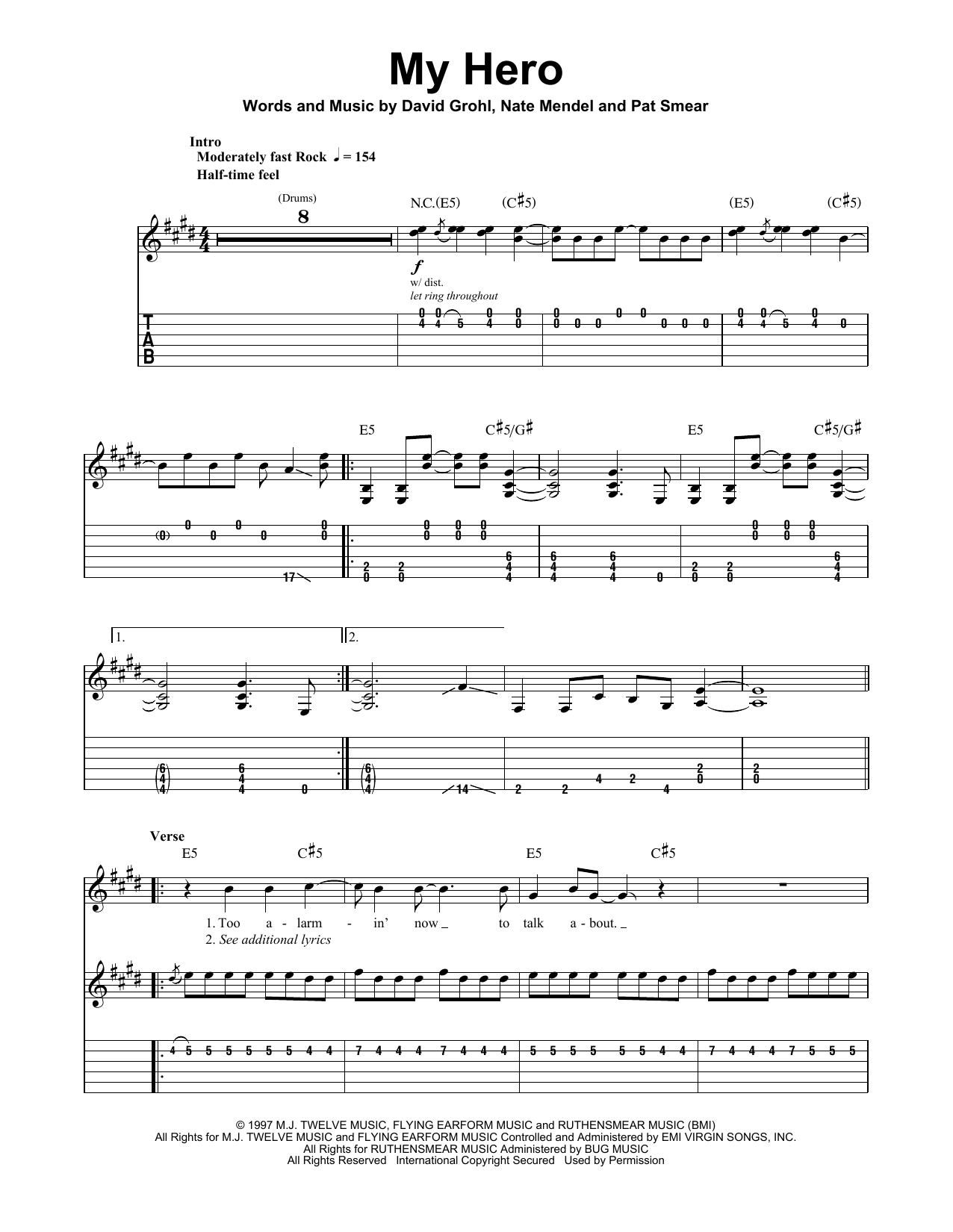 My Hero Sheet Music