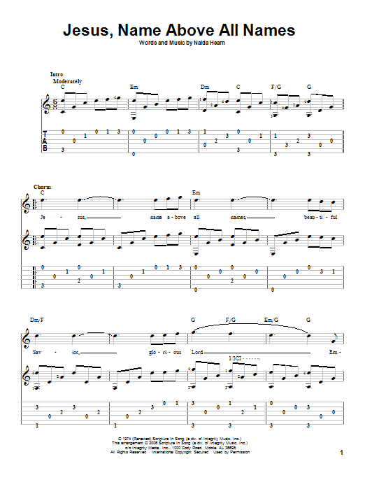 Jesus, Name Above All Names (Guitar Tab)