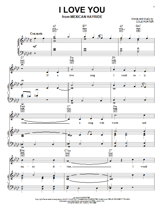 I Love You Sheet Music