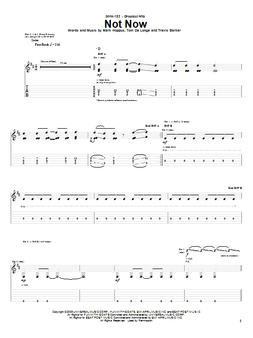 Tablature guitare Not Now de Blink-182 - Tablature Guitare