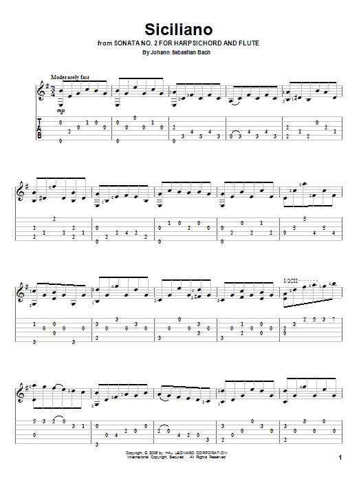 Tablature guitare Siciliano de Johann Sebastian Bach - Tablature Guitare