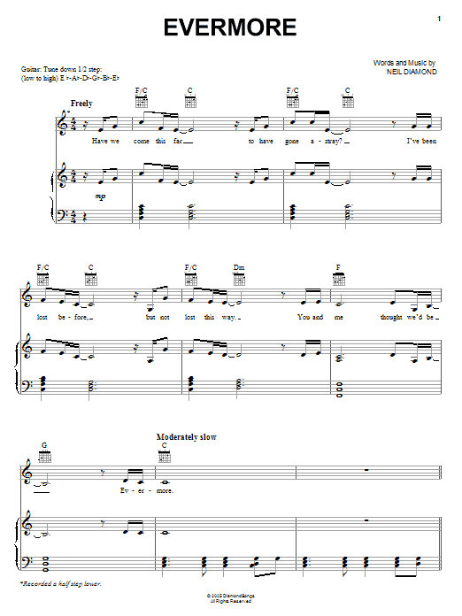Evermore (Piano, Vocal & Guitar (Right-Hand Melody))