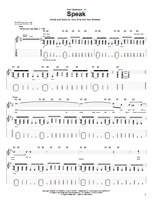 Tablature guitare Speak de Godsmack - Tablature Guitare