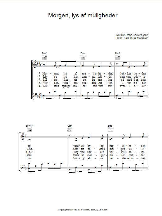 Morgen, Lys Af Muligheder (Piano, Vocal & Guitar)