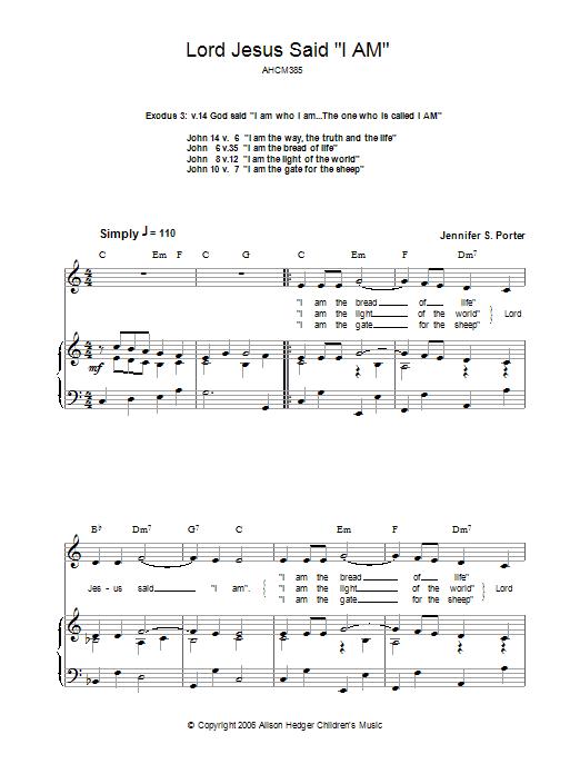 Lord Jesus Said 'I Am' Sheet Music