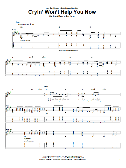 Tablature guitare Cryin' Won't Help You de Ben Harper - Tablature Guitare