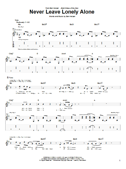 Never Leave Lonely Alone Sheet Music