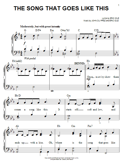 The Song That Goes Like This Sheet Music